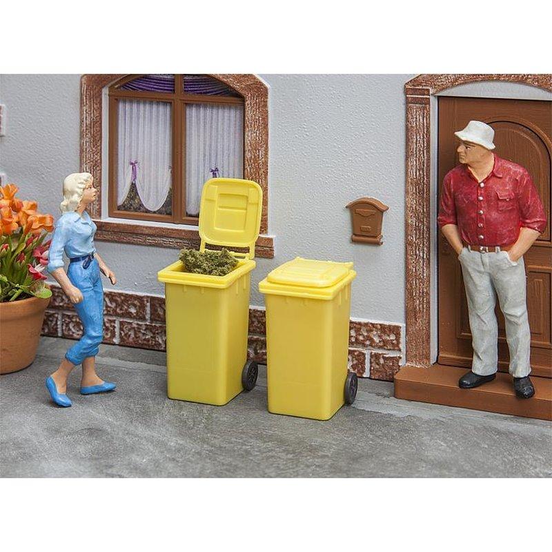 PLS367 Satz 4 Mülltonnen in Miniatur Aufbauleuchte und Rechts Bemalen für Di